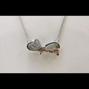 10k Family pendant on 925 silver necklace